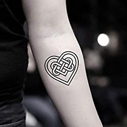 Celtic Heart Temporary Fake Tattoo Sticker (Set of 2) - www.ohmytat.com