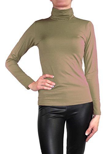 Muse Damen Langarm warmes Stretch Pullover Rollkragen Thermo Pulli Top Schlamm Braun