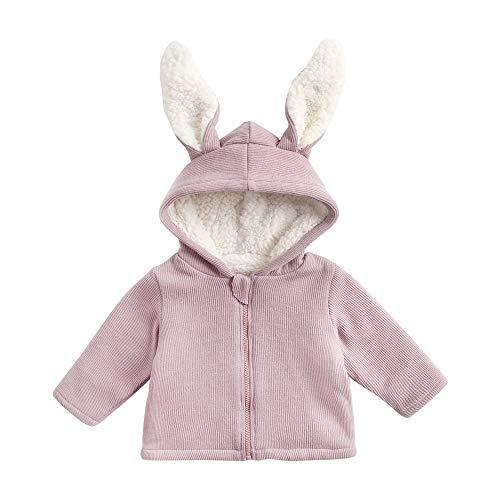 Sanlutoz Hiver Encapuchonné Veste pour Les Enfants Vêtements d'extérieur Mignonne Couleur Unie Bébé Tenues (6-12 mois/73cm, KTW8177-PU)