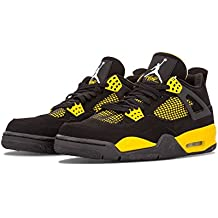 Nike Air Jordan 4 Retro 'Thunder' Black/White-Tour Yellow Trainer, Black, 41 EU