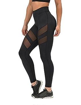 Cinnamou Pantalones de running de cintura alta para entrenamiento deportivo Yoga Gym de mujer Fitness Elástico...