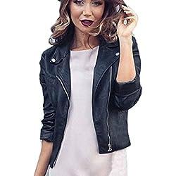 Ularma Chaqueta de la mujer de la cremallera, estilo punk, suave PU delgado abrigo de cuero negro (S, negro)