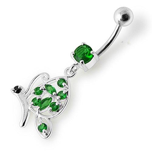 Bijou de corps anneau de nombril motif Papillon fantaisie en pierre pendant en Argent Dark Green