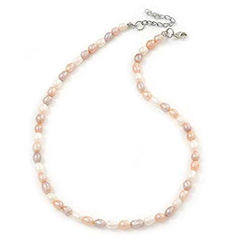 5-6mm Cream/ White/ Pink Rice Freshwater Pearl Necklace - 41cm