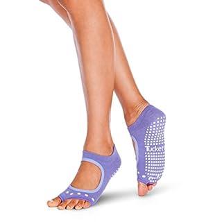Tucketts Womens Yoga Socks, Toeless Non Slip Skid Grippy Low Cut Ankle Socks for Pilates, Barre, Studio, Bikram, Ballet, Dance, Workout, Exercise - Allegro Style (Solid Lavender)