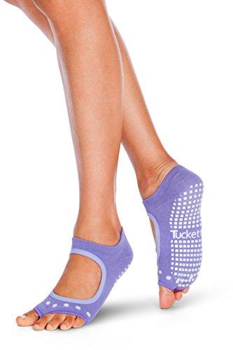 Tucketts Womens Yoga Toe Socks, Toeless Non Slip Skid Grippy - Allegro Style (Lavendel) (Abs-slip)