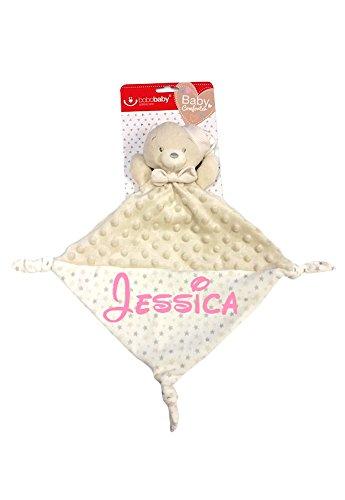 """Baby Kuscheltuch mit Namen """"bestickt"""" (kein Druck) / wunderschöne 3D Motive zur Auswahl - ideal als Schnuffeltuch und Trösterchen (Beige - BÄR / Schlafmütze)"""