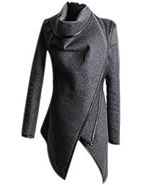 Invierno Capa Abrigos para Mujer Slim Largo Chaquetas de Lana Moda Irregular Stitching Cuello Alto Parka