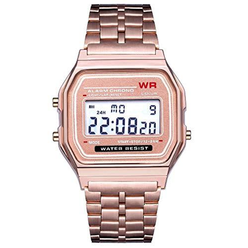 Mode Vintage LED Digitaluhr Edelstahlband Alarm Armbanduhr Kleid Business Armbanduhr für Männer Frauen