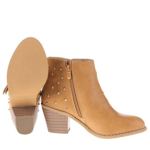Damen Schuhe, W8620A, STIEFELETTEN Camel