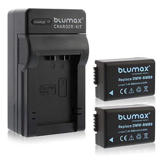 Blumax 2X Akku ersetzt Panasonic DMW-BMB9 / DMW-BMB9E 890mAh + Ladegerät kompatibel mit Panasonic Lumix DMC-FZ40-FZ45-FZ47-FZ48-FZ60-FZ62-FZ70-FZ72-FZ100-FZ150 Leica V-LUX 2/3