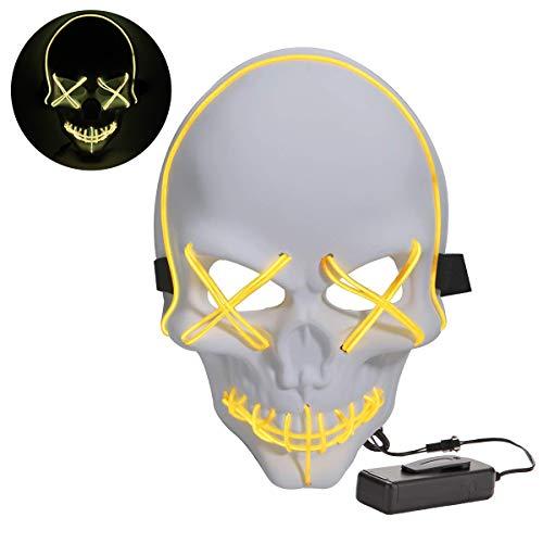JCWL Halloween-Maske LED-Skelett unheimlich Masken für Frauen Männer Kinder Festival Cosplay Kostüm 4 - Unheimliche Kostüm Frauen