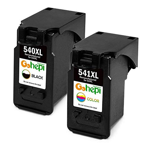 Gohepi remanufactured Canon PG-540 CL-541 compatible ink cartridges for Canon Pixma MG3650 MG3550 MG4250 MG3150 MX475 MX375 MX395 MG3600 MG2250 MG3100 MG3250 MG3500 MX535 (1 Negro,1 Tricolor)
