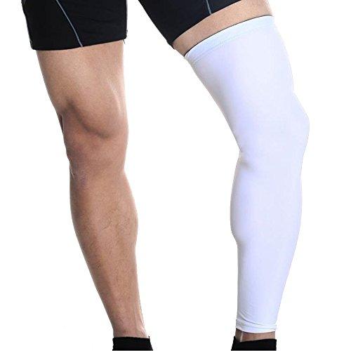 Lmeno 2pcs Kneepad Knee Protector Shin manica lunga Sleeve Socks Scaldamuscoli per gamba con parastinco Pallacanestro compressione proteggi ingranaggi Stretch Maniche coperture Anti Slip per Running Ciclismo Rugby Football Crossfit 3 Sizes - XL-Bianco 2