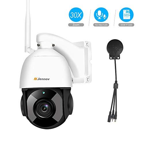Jennov PTZ Überwachungskamera 30x Fach Digitaler Zoom 1080P WLAN IP Kamera 355° schwenkbar 100° neigbar Zweiwege-Audio 100m IR Nachtsicht IP66 wasserdicht APP Fernzugriff 32GB TF-Karte für Innen Außen -