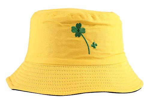 ZLYC Unisex Sommer Süß Eimerhut Fischerhüte (Gelbes Blatt)