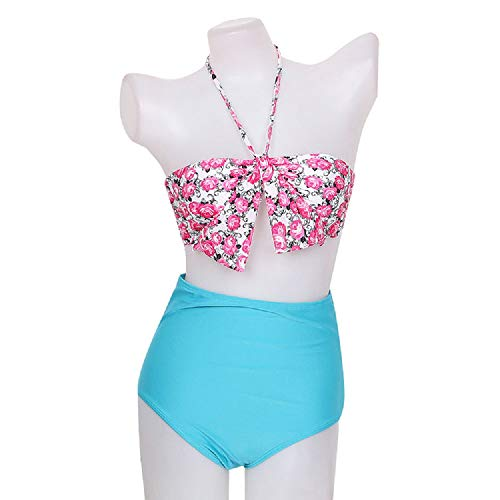 Kaamastra Women's High Waist Bikini Swimwear(KA_LB16247,Multicolor,Free Size)