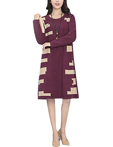 Youlee Donna Inverno Autunno Collare rotondo Maglione Vestito Stile 1 Viola