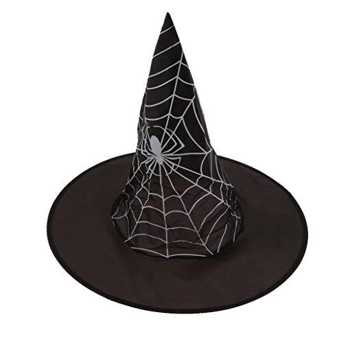 MagiDeal Kinder Hexe Hut Hexenhut für Jungen Mädchen Fasching Karneval Halloween Horror Party Geist/Spinnennetz/Totenkopf/Schwarz/Pink Motiv - A
