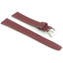 StrapsCo Burgundy Genuine Leather Watch Strap in size 12mm