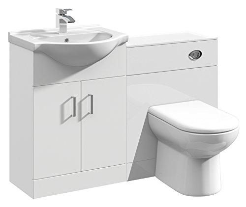 Home Standard Meuble blanc brillant Classique Pour salle de bain, Bois dense, blanc, 1150mm Package