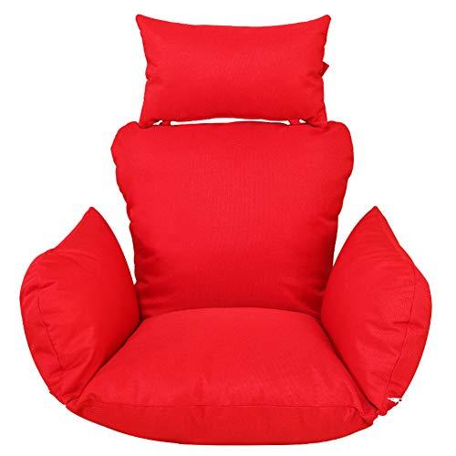 Unbekannt Waschbares Hängeegg Hängematte Stuhl-Pads,Dicke Nestschaukel Sitzkissen Solide Farbe Rockt Stuhlkissen Mit Kissen-rot