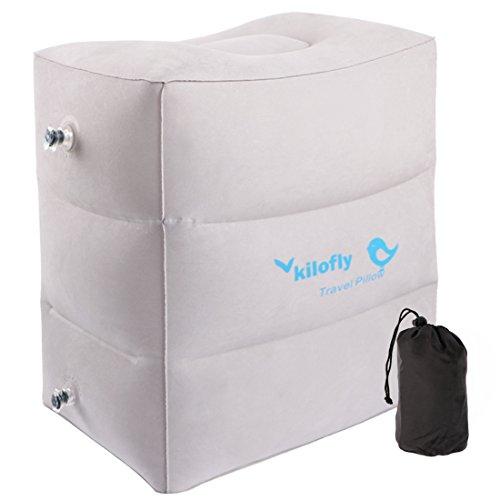 kilofly aufblasbar Fußstütze höhenverstellbar Auto Flugzeug Bein Air Travel Kissen, PVC, 1pc Foot Rest, Einheitsgröße (Blow Up Betten Für Das Auto)