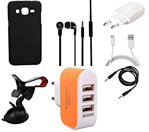 NIROSHA Cover Case Charger Headphone Mobile Holder for Samsung Galaxy ON5 - Combo