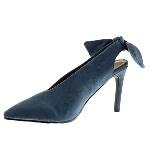 Angkorly Scarpe Da Donna Pump - Decollete - Stiletto - Tacco Alto A Spillo 10 Cm Blu