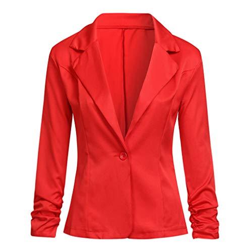 Dorical Blazer Damen Langärmliger Kurzer Taillierter Anzugjacke/Elegant Dünn Bolero Jacke Slim Fit EIN Knopf Tailliert Anzug Trenchcoat Business Mantel Valentinstag-Anzüge (Rot,L3)