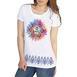Irony Camiseta para Mujer Namaste OM Flores Color explosión Yoga meditación TS1447