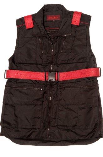 Bagket, Weste mit Multifunktions-Taschen, umwandelbar als Umhängetasche Taschen geeignet für 13Zoll Laptop, iPad, iPhone und alles, was Sie auf Reisen benötigen. Gr. Large, schwarz