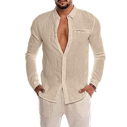 Bestyyo Herren Einfarbig Langarm Imitation Hanf Pocket Revers Shirt Lose Baumwollmischung der Männer Normallack-Knopf-Taschen-langes Hülsen-Hemd übersteigt Bluse (Khaki, - Chinesisch Lieferung Mann Kostüm