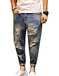 Moda Uomo Jeans Strappati Jeans BT Pantaloni Jeans Taglie Comode Larghi  Larghi Pantaloni Micro T Pantaloni 8826f7ea0d6