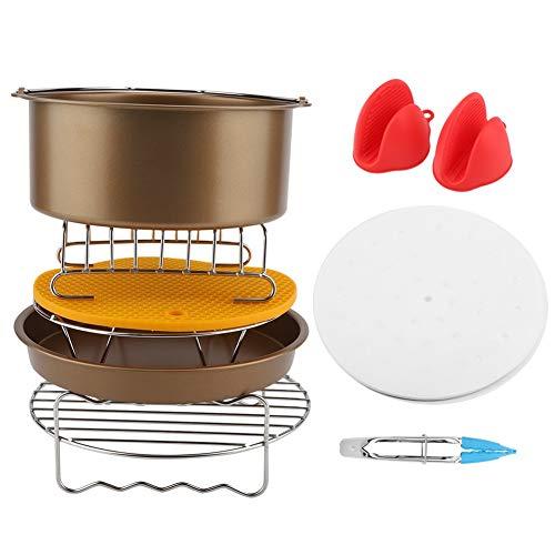 Luft Friteuse Zubehör 8 zoll 9 Teile/satz Luft Friteuse Zubehör Kit Backwerkzeug Kuchen Korb Pizza Spieß Rack (Farbe : Golden)