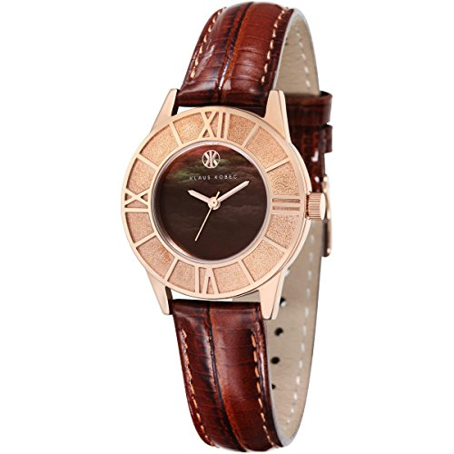 Ladies Klaus Kobec Agnes Watch with Dark Brown Mother of Pearl Dial and Genuine Brown Icy Leather Strap - KK-10018-04