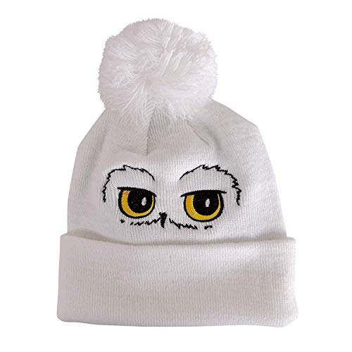 Harry Potter Hedwig Eyes Pompom Beanie Bonnet, Blanc White, Unique (Taille Fabricant: OS) Mixte