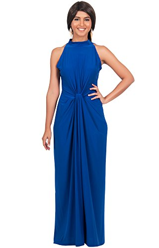 KOH KOH® Plus Size Damen Ärmelloses Maxikleid Elegante Geknöpfte Cocktail Wunderschön, Farbe Kobalt / Royalblau, Größe 3XL / 3X Large - Plus Halloween-kostüme Size 4x