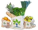 InspiredbyNature Baumwolle Obst und Gemüsebeutel Wiederverwendbare Einkaufstasche Tragetasche 3er Set Obstnetz Gemüsenetz plastikfreier Einkauf 100% recyclebar