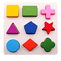 Fat.chot 1 Set Building Blocks Puzzle, Wooden Geometry Games Imagination DIY Toys Pre-school Educational Toys Construction Game Party for Kids, Toddlers (Type-A)
