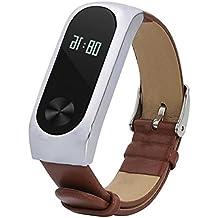 Malloom Reemplazo de cuero pulsera correa para Xiaomi Mi Band 2 Smartband (marrón #)
