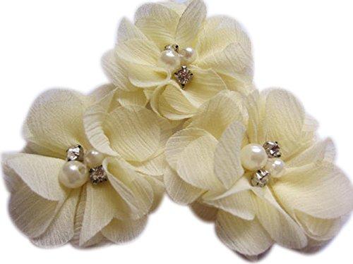 20 Chiffon-Blumen, die 5,1 cm groß sind, mit Strass und Perlen, für Bastelarbeiten von Yycraft, Chiffon, cremefarben, 2