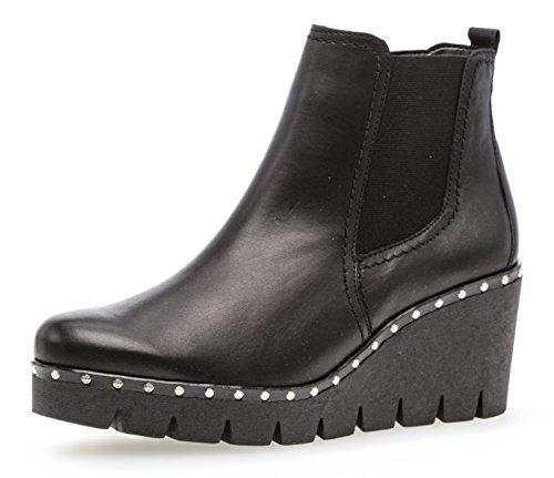 Gabor Damen Keilstiefeletten 93.785,Frauen Stiefel,Boots,Halbstiefel,Wedge-Bootie,Nieten,Blockabsatz 5cm,F Weite (Normal),schwarz (Nieten),UK 6