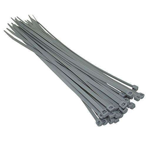 Kafton - fascette stringicavo in nylon, 140 mm, 200 mm, 300 mm, colore: argento/grigio