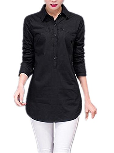 AILIENT Donna Elegante Maglie A Manica Lunga Autunno Top Blusa Sciolto T-Shirt Puro Colore Maglietta Moda Casual Taglie Forti Allentato Bluse Lungo Black