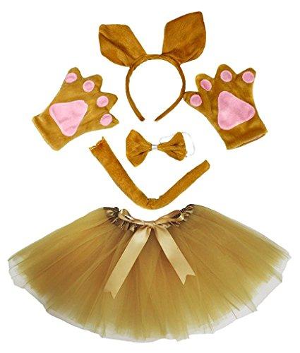 Petitebelle Stirnband Bowtie Schwanz Handschuhe Tutu 5pc Mädchen-Kostüm Einheitsgröße ()