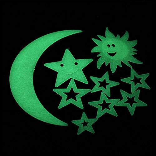 S`good Leuchtsterne Punkten und Mond Wandsticker ,9 Stücke Kinder DIY Wandaufkleber Sterne Mond Sonne Im Dunkeln Leuchten Home Decal Wohnzimmer Schlafzimmer Decken Dekorationen
