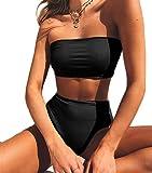 Bikini Dos Estilos Mujer Push-up Acolchado Bra Trajes de baño Dos Piezas Cintura Alta Color Solido y Vario #1 Negro Medium