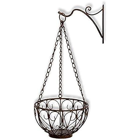 Macetero colgador + Soporte de pared olla colgador Planta colgador metal oxidado cesta para plantas