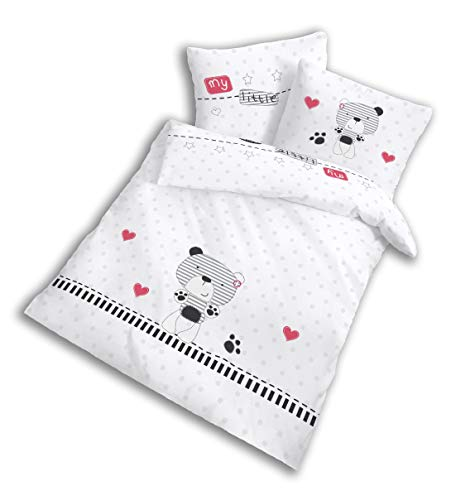 Baby-Bettwäsche Set 100% Baumwolle weiß - Kinder-Bettwäsche für Mädchen & Jungen Bett ★ Teddy-Bär my little bear - 2 teilig Kissenbezug 40x60 + Bettbezug 100x135 cm (Baby Mädchen Teddy-bettwäsche-set)